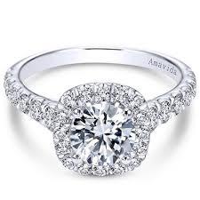 set diamond gabriel amavida mykonos cushion halo prong diamond engagement ring