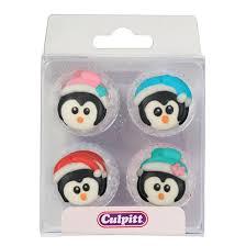 christmas penguins sugar decorations set of 12 squires kitchen