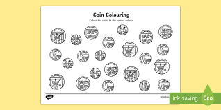 colouring worksheet coins money numeracy maths colour