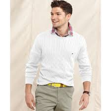 hilfiger sweater mens lyst hilfiger cable crew neck sweater in white for