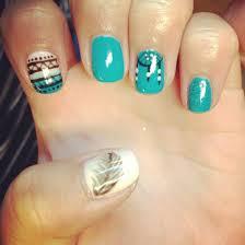 nails nail art shellac gelish gel nails teal pink aztec tribal