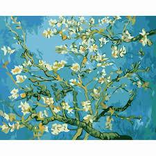 apricot van gogh flowers diy digital oil painting by numbers home