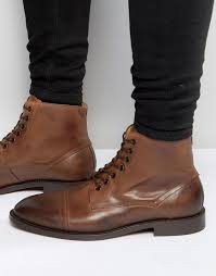 brown motorcycle boots for men h by hudson seymour leather ankle boots in brown for men lyst