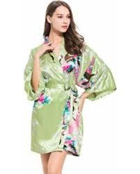 pre black friday special green silk robe short osfm bridesmaid
