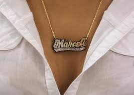 name plate jewelry real gold nameplate necklace necklace