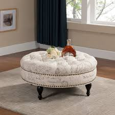 shabby chic round table furniture awesome round tufted ottoman coffee table designs