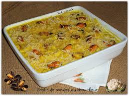 cuisiner moule gratin de moules au chou fleur chez vanda