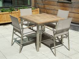 Steel Bistro Chairs 4 Seater Teak And Stainless Steel Bistro Set The Caspian