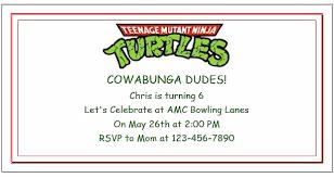 teenage mutant ninja turtle party ideas invitations