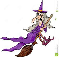 halloween flying witch background witch on broom cartoon illustration stock image image 33555491