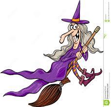 witch on broom cartoon illustration stock image image 33555491