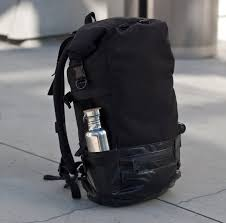 roll top backpack commuter black cordura truck tarp
