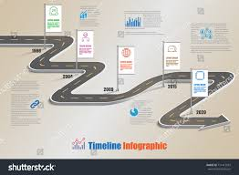 business road map timeline infographic icons stock vector