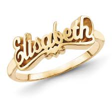 name rings for gold plated sterling silver script letters name ring with heart