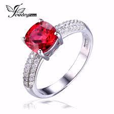 jewelrypalace cushion 2 6ct created ruby solitaire engagement