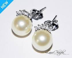 ivory pearl ivory pearl stud earrings pearl cz small bridal earrings swarovski