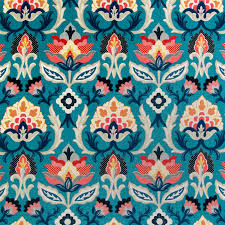 Coordinating Upholstery Fabric Collections Blue Color Medallion And Floral Pattern Print And Cotton Type