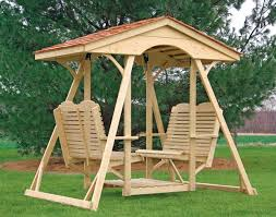 outdoor glider swing with table treated pine old homestead face to face swing