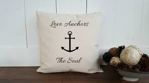 Love Anchors The Soul Nautical - love anchors the soul cotton canvas burlap pillow cover