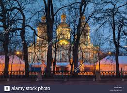 st nicholas naval cathedral the trees illuminated at