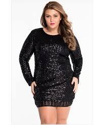 black plus size o neck long sleeve sequin mesh mini dress sheinline