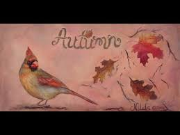 how to paint realistic birds female cardinal and fall leaves in