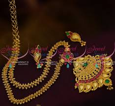 gold colour chain necklace images Nl9626 multi colour kemp south indian traditional chain pendant JPG