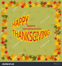 happy thanksgiving day cardletters frame autumn stock vector