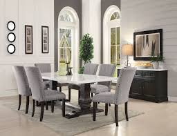 marble top dining room sets recusson marble top dining table 60825 in dark oak by acme