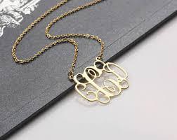 monogram initials necklace monogram necklace etsy