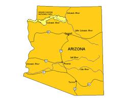 us map arizona state arizona us state powerpoint map highways waterways capital and