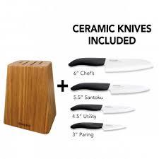 Kyocera Kitchen Knives Bamboo 4 Slot Knife Blockaccessories Gift Sets Accessories