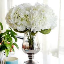 white hydrangea bouquet artificial flower hydrangea bouquet 5 heads silk flower real touch