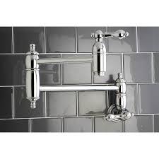 kingston brass metal lever handle chrome kitchen pot filler faucet