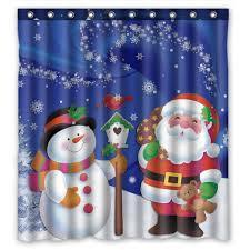 snowman curtains kitchen gckg merry christmas xmas santa claus snowman bathroom shower