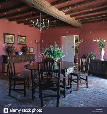 The Brick Dining Room Furniture Antique Oak Table And Chairs In Red Country Dining Room With Brick