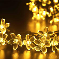White Patio Lights cheap solar flower fairy string lights tree lights 21ft 50 led