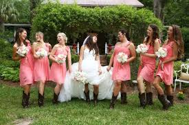 short pink bridesmaid dresses with cowboy boots
