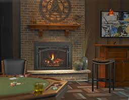 living room brick chimney black brass fireplace with rusttic