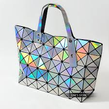 holographic bags metal colorful laser handbag for women geometry plaid iridescent