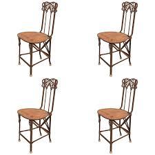 Folding Armchair Set Of Four Art Nouveau Cast Iron Folding Chairs With Wood Seats