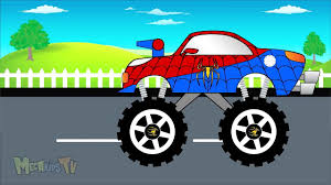monster truck video for toddlers spiderman truck monster trucks for children video dailymotion