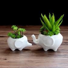 new design animal shape ceramic planter home decor white bonsai
