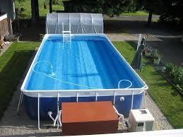 swimming pool rectangular above ground pool with wooden steps