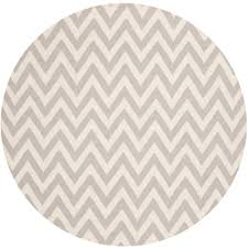 safavieh dhurries grey ivory 6 ft x 6 ft round area rug dhu557c