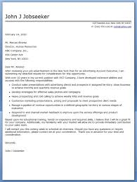 advertising account executive cover letter sample creative