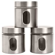 stainless steel canister set counter 3 pc storage tea coffee sugar