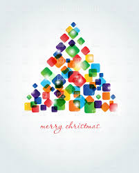 abstract christmas tree made of colorful cubes vector image 22595