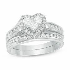 heart shaped diamond engagement ring 3 4 ct t w diamond heart bridal set in 14k white gold