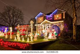 neighborhood houses decorated lighted new stock photo